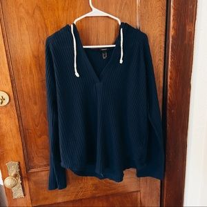Waffle Material Navy Hoodie Forever 21